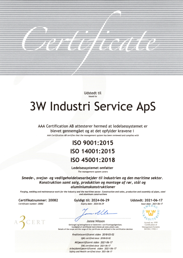 3WIS ISO 9001, ISO45001, ISO 14001